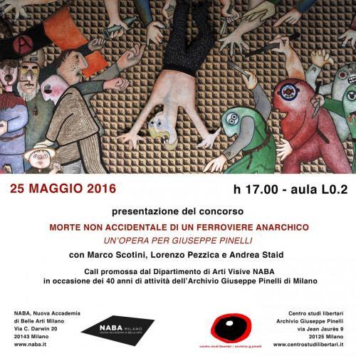 """Locandina del concorso """"Morte non accidentale di un ferroviere anarchico"""", presso la Nuova Accademia di Belle Arti di Milano"""